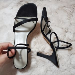 BP Lavish Black Strappy Slingback Heeled Sandals